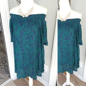 Paisley green blue off shoulder top XL